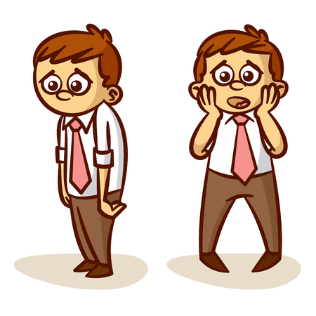 sad businessman: Sad Businessman Crisis Set Clipart Illustration