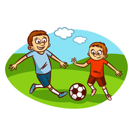 kids fun: Dad and son playing football Clipart