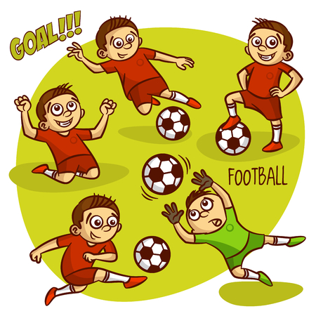 Football Soccer Player Set Clipart