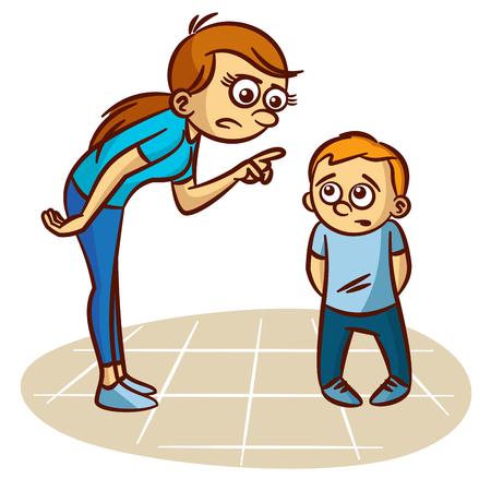 Mutter schimpft das Kind Clipart