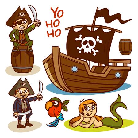 skull with crossed bones: Pirate set. Ship Mermaid Clipart