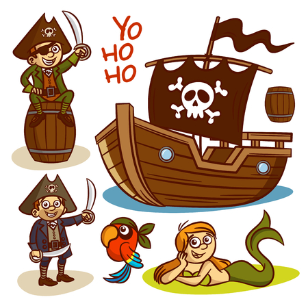 Pirate set. Ship Mermaid Clipart