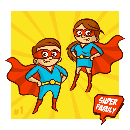 Super Family. Mother and Father Illustartion Clipart