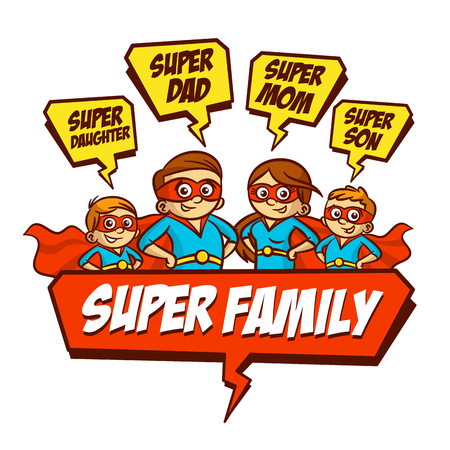 Super Family. Father Mother Daughter Son Set Clipart