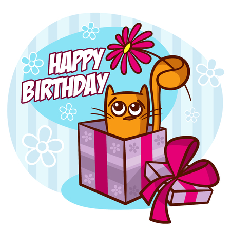 Happy Birthday Card Cat With Flower Vector Clipart Royalty Free