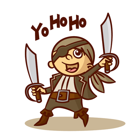Funny Pirate Boy with Sword Vector Clipart Illustration