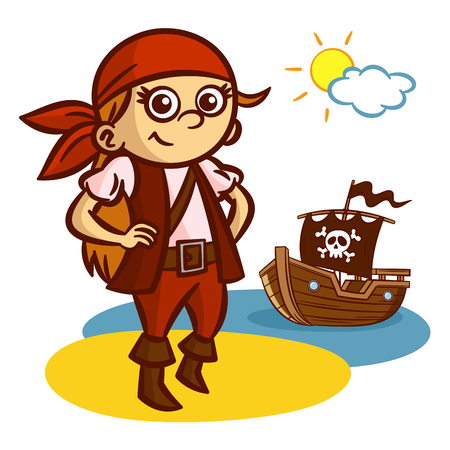 pirate girl: Funny Pirate Girl Ship Jolly Roger Vector Clipart Illustration