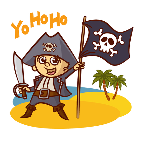 skull with crossed bones: Funny Pirate Boy with Sword Vector Clipart Illustration
