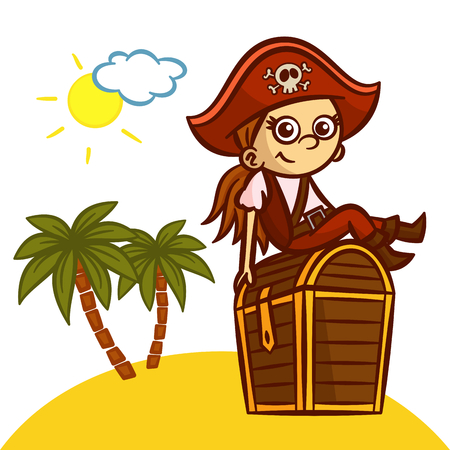 skull with crossed bones: Funny Pirate Girl Treasure Chest Vector Clipart