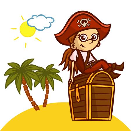 pirate girl: Funny Pirate Girl Treasure Chest Vector Clipart