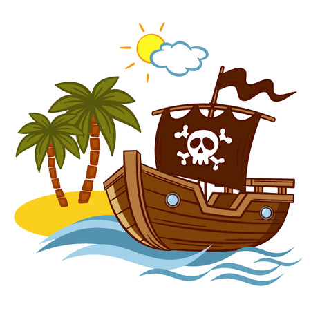 rum: Desert Island Pirate Ship Jolly Roger Vector Clipart Illustration