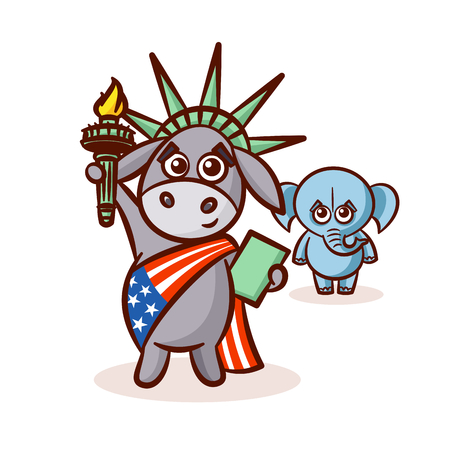 Elephant and Donkey. Symbols of Democrats and Republicans. Political parties in United States. Illustration for election, debate America. The Statue of Liberty. USA flag. Illustration