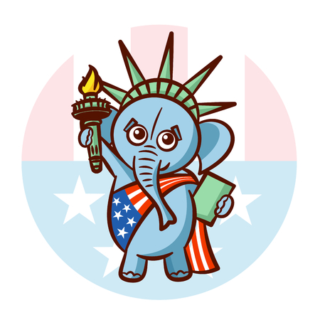 Elephant Symbols of Republicans. Political parties in United States. Illustration for election, debate America. The Statue of Liberty. USA flag.  Illustration