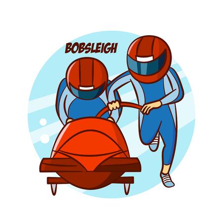 Wintersport Bobsleigh Aufkleber