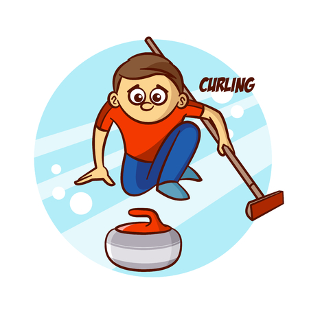 Winter Sport Curling Sticker Illustration