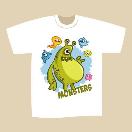 T-shirt Print Design Cartoon Cute Monsters