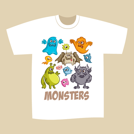 ghouls: T-shirt Print Design Cartoon Cute Monsters