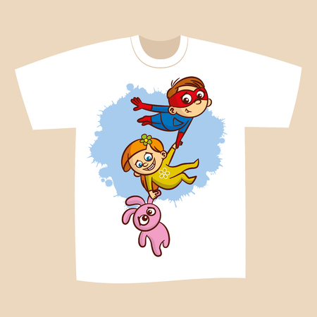 T-shirt Print Design Superhero Flying Boy Rescuer