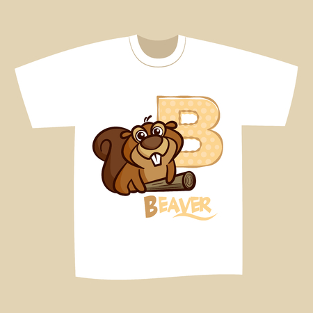 T-shirt Print Design Letter B Beaver