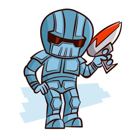 Superhero Robot with Blaster Pistol Sticker Illustration