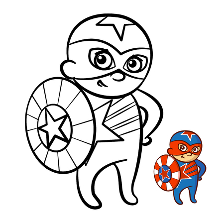 illustration of a happy superhero boy coloring book comic character isolated on white background vector - Boy Coloring Book