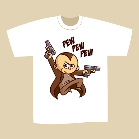 T-shirt Print Design Superhero Gun Man
