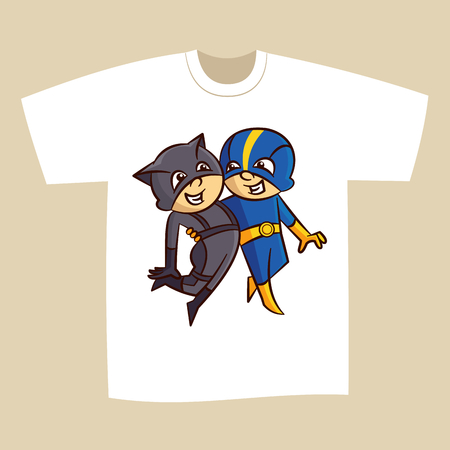 T-shirt White Print Design Superheroes Boy and Girl