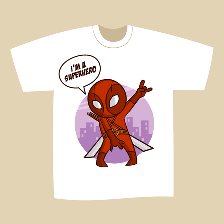 T-shirt White Print Design Superhero Ninja