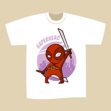 superheroes: T-shirt White Print Design Superhero Ninja Vector Illustration