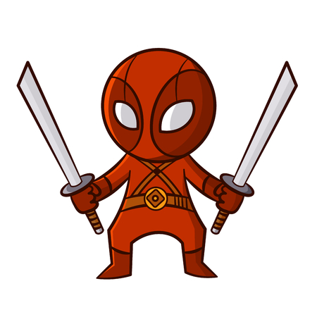 Superhero Red Ninja Sticker Vector Illustration