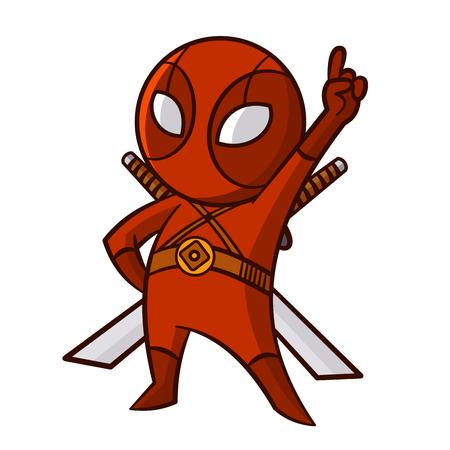 Superhero Red Ninja Sticker Vector Illustration