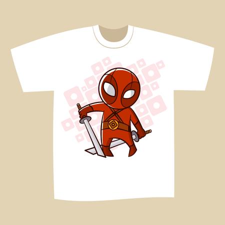 T-shirt Black Print Design Superhero