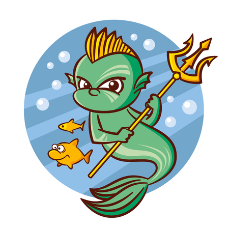 Superhero Poseidon and small fish Sticker Vector Illustration