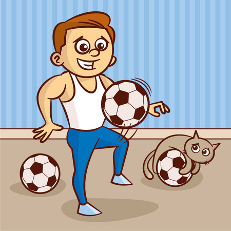 Young man in white undershirt plays with soccer ball Vector Illustration