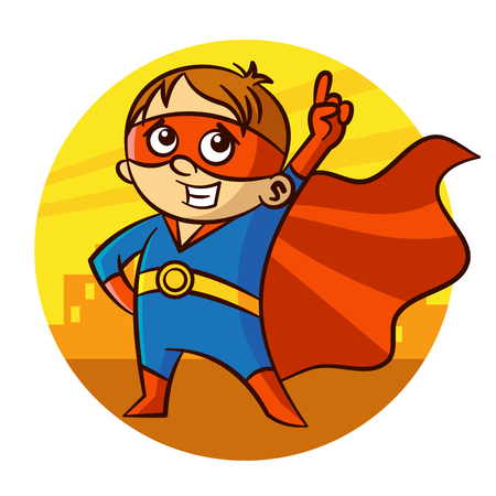 Superhero Boy Number one Sticker Illustration
