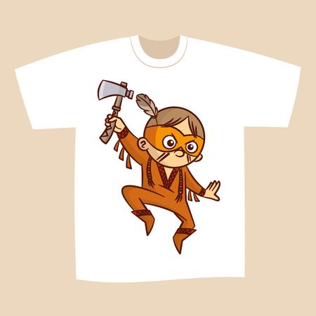 american hero: T-shirt White Print Design Superhero Native American Vector Illustration Illustration