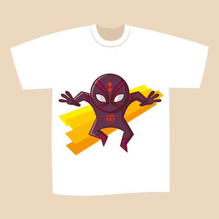 T-shirt White Print Design Superhero Spider Vector Illustration Stock Photo