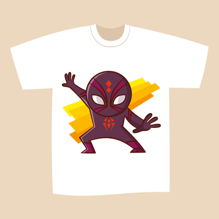 T-shirt White Print Design Superhero Spider Vector Illustration Illustration