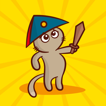 cocked hat: Cute cartoon Cat in a cocked hat with a sword Vector Illustration