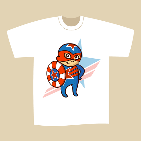 baby: T-shirt Print Design Cartoon Superhero Vector Illustration