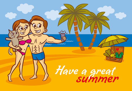 Young couple and cat making a self portrait with a cell phone on the beach Illustration