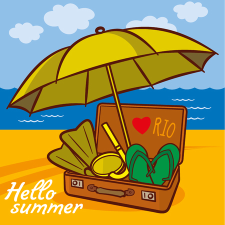 flippers: Suitcase with summer things and an umbrella on the beach