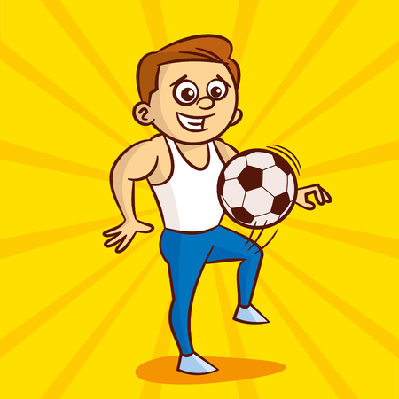 Young man in white undershirt plays with soccer ball Illustration