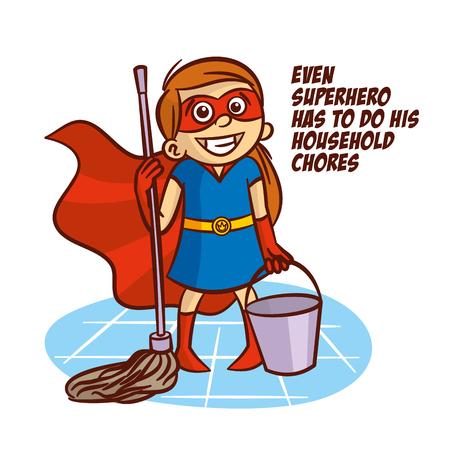 Even superhero has to do his household chores Illustration