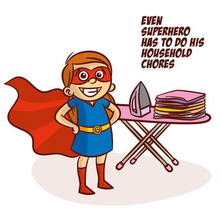 Even superhero has to do his household chores Vector Illustration Иллюстрация