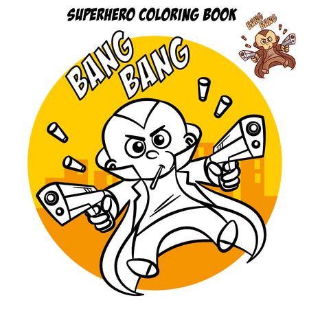 Superhero Coloring Book. Comic character isolated on white background Illustration