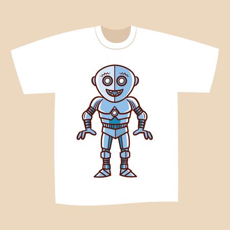 T-shirt White Print Design funny Robot Vector Illustration