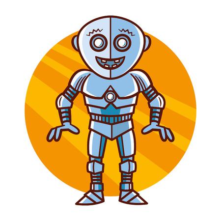 Cartoon Character funny Robot Sticker Vector Illustration