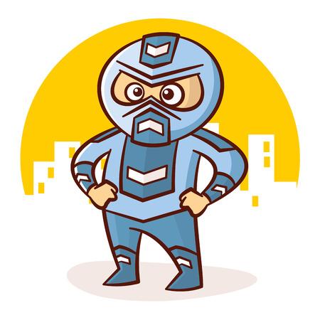 Cartoon Superhero Boy Character Sticker Vector Illustration