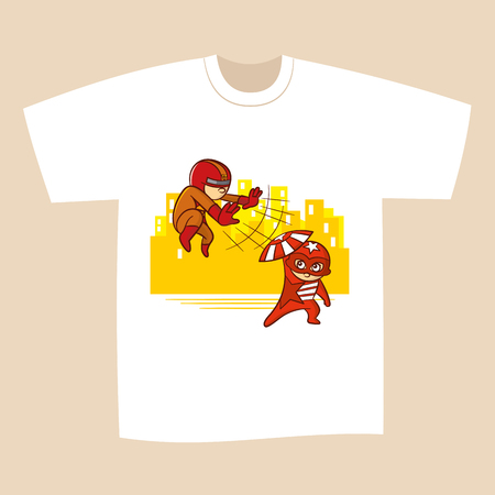 T-shirt White Print Design Battle Superheroes Vector Illustration